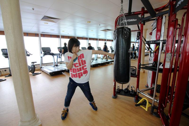 クルーズ船内のボクシングジム